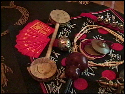 red envelopes and shamanic items